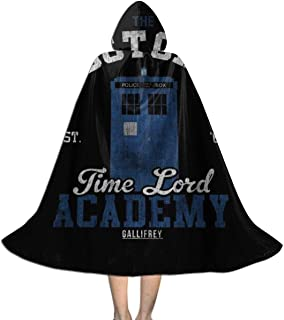 SEDSWQ The Doctors Time Lord Academy Doctor Who Unisex Kids Hooded Cloak Cape Halloween Xmas Party Decoration Role Cosplay Costumes Black