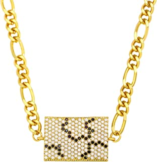 ゴールドチャンキーシックチェーンハンドネックレス女性用スクエアイービルアイペンダントジュエリーネックレス長さ45+ 5 cm