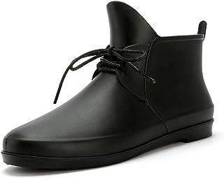 LINGZE Bottes de Pluie à Lacets, Chaussures d'eau imperméables en Caoutchouc, Chaussures de Protection antidérapantes Plates