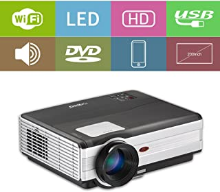 Wifi Projector Wireless Screen Cast HD LED LCD Android Video Projector Support 1080P Airplay Miracast Multimedia Home Theater Movie Gaming TV Projector with HDMI USB VGA AV Audio Speaker Zoom Keystone