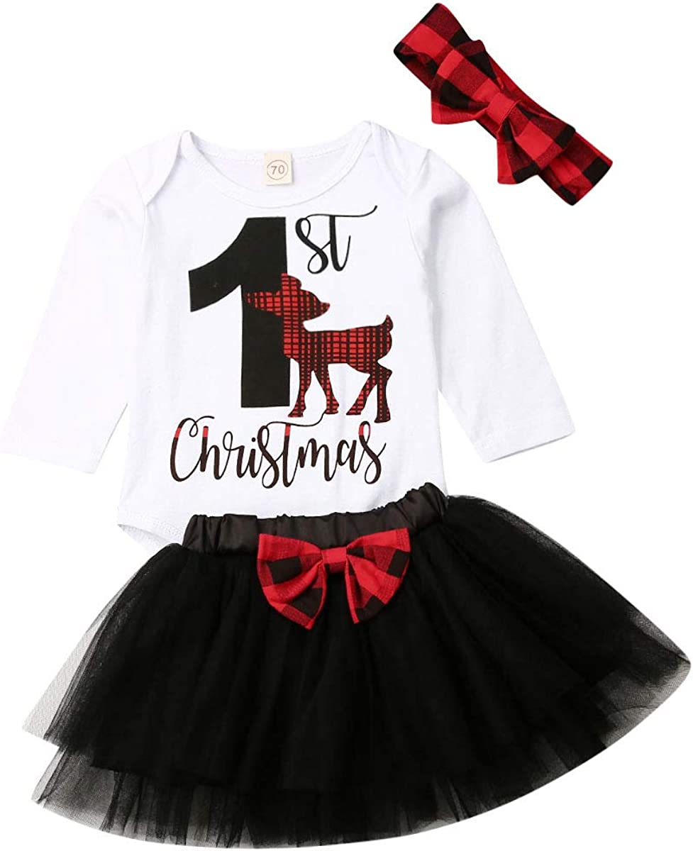 half Baby Girl Christmas Skirt Set Long + Oklahoma City Mall Bodysuit top Romper Sleeve