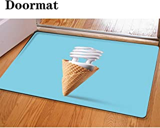 HooMore 3D Printing and Dyeing,Bathroom Carpet, Door mat,Compact Fluorescent Bulb in ice Cream Cone Flannel Foam Shower mat, Absorbent Kitchen Door Carpet