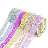 Honbay 6 Roll Washi Tape Glitter Lace Pattern Self-Adhesive Tape Sticker Decorative Masking Tape for Scrapbooking, Card Making, Crafts, Frames,Gifts Decoration