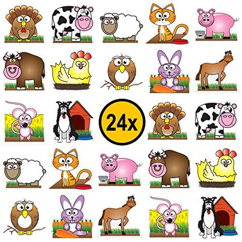 24 x Bauernhof Tiere Farm Kinder-Tattoos, temporäre Tattoos, Partygeschenke Kindergeburtstag, perfektes Mitgebsel, Gastgeschenke, wasserdicht, ungiftig und 100{20849620cb1cc8a68b80ce9b08828c6d1332284aaaa9cbf6ffff3c48516d89fc} sicher. Dermatologisch getestet.
