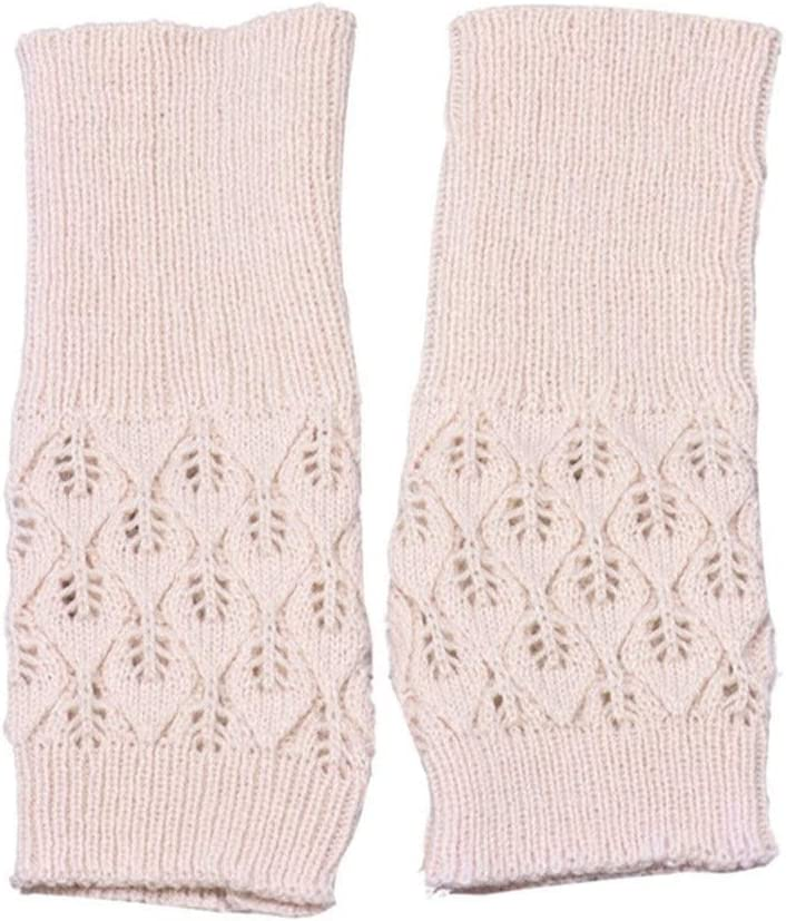 ZZTT Autumn and Winter Gloves Hot Hollow Out Leaves Long Section Winter Long Fingerless Knitting Wool Mittens Warm Knitted Fingerless Gloves Warm and Comfortable Gloves