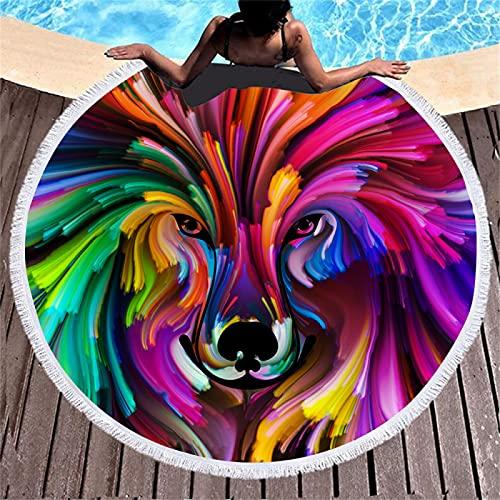 Toalla De Playa Redonda De Microfibra con Impresión Digital Animal, Esterilla De Playa Absorbente De Secado Rápido, Esterilla De Picnic A Prueba De Arena, con Borlas 150 * 150cm