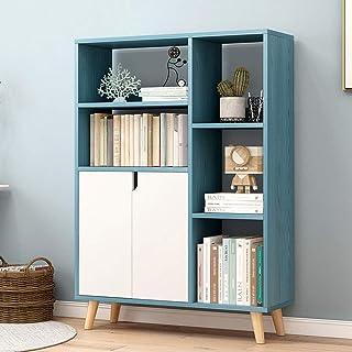 Bibliothèque Armoire de rangement carrée avec étagère moderne avec 2 portes shaker for CD, disques, livres, décor de burea...