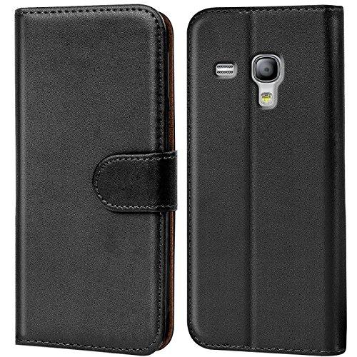 Conie Handyhülle für Samsung Galaxy S3 Mini Hülle, Premium PU Leder Flip Case Booklet Cover Weiches Innenfutter für Galaxy S3 Mini Tasche, Schwarz