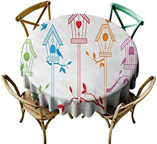 W Machine Sky Dinning Tabletop Decoration Birds,Sweet Colorful Bird Houses Nest with Flying Birds on Roof Branches Animal Home Decor,Multicolor Diameter 54