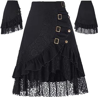 Belle Poque Falda Asimétrica para Mujer Vintage con Volante
