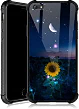 iPhone 6s Case,Sunflower Moon Starry iPhone 6 Cases for Girls,Tempered Glass Back Cover Anti Scratch Reinforced Corners Soft TPU Bumper Shockproof Case for iPhone 6/6s Night Crescent Sky
