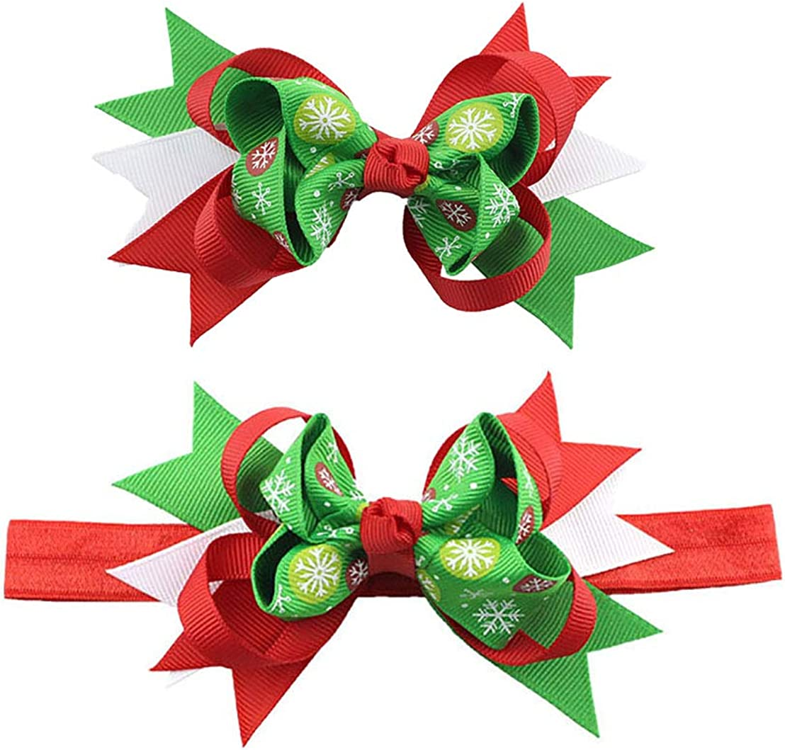 Baby Girls Christmas Headband with Swallowtail Bow Hair Band Christmas Gift JHC61