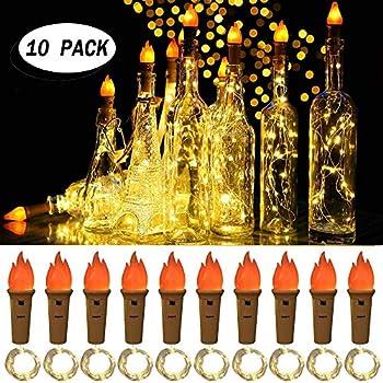 10-Pack Seenlast Torch Wine Bottle Lights