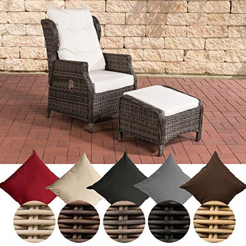 CLP Polyrattan-Sessel Breno Mit Sitzpolster Und Fußhocker I Relaxsessel Mit Verstellbarer Rückenlehne, Farbe:grau-meliert, Polsterfarbe:Cremeweiß