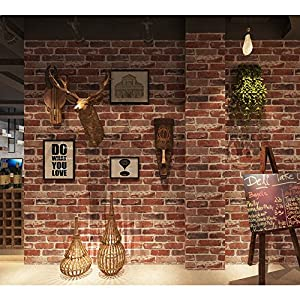Flat Faux Brick Stone Wallpaper Roll 3D Effect Blocks Vintage Home Decoration Multi Countryside Red