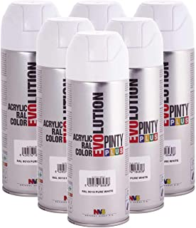 Fast Dry, Low Odor, Low VOC - Pintyplus Evolution Acrylic Spray Paint - 400 mL cans - Case of 6 (RAL 9010, Pure White)
