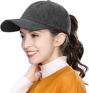 Jeff & Aimy Womens Ponytail Messy Bun Ponycap 100% Plain Washed Cotton Baseball Hat Sun Hats