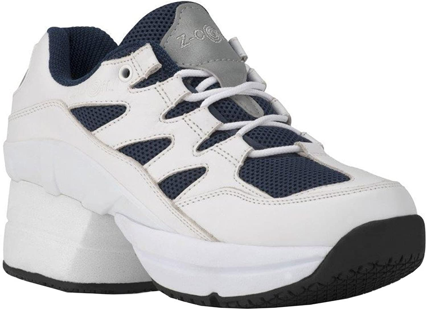 Z-CoiL Pain Relief Footwear Men's Freedom Slip Resistant Enclosed Coil White-Navy Leather Tennis shoes