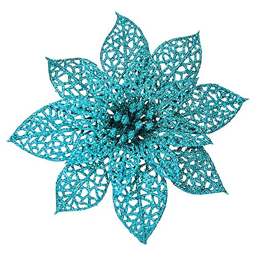 Winlyn 24 Pack Christmas Teal Glitter Poinsettia Flowers Picks Christmas Tree Ornaments 5.9' Wide for Teal Christmas Tree Wreaths Garland Holiday Seasonal Wedding Decorations White Gift Box Included