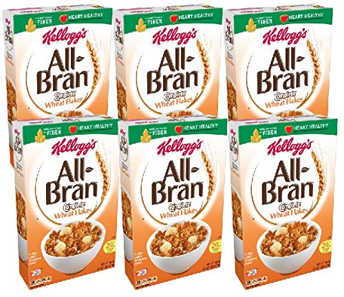 Kellogg's All-Bran Complete Wheat Flakes, Breakfast Cereal, Excellent Source of Fiber, 18 oz Box(2 count) (Pack of 3)