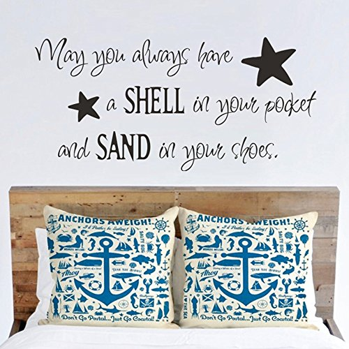 MairGwall May You Always Have a Shell in Your Pocket Wall Decal - Beach Nautical Vinyl Wall Quote Saying (White, Medium)
