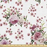 Ambesonne Floral Fabric by The Yard, Vintage Style Blossoming Romantic Flower Arrangements Garden Art, Decorative Fabric for Upholstery and Home Accents, 1 Yard, Rose Green