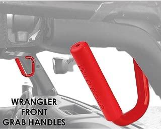 Xprite Front Red Grab Bar Hard Mount Solid Steel Grab Handle Bar for 2007-2018 Jeep Wrangler JK - Pair