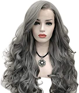 Women Cosplay Party Dress Lace Front Wig Silver Grey Long Curly Hair for,Hairpieces (Color : Gray)