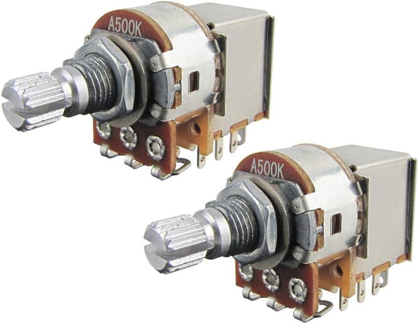 IKN A500K Potenciómetros Push Pull, potenciómetros cónicos de audio, eje dividido corto de 15 mm para piezas de interruptor de control de guitarra eléctrica, paquete de 2