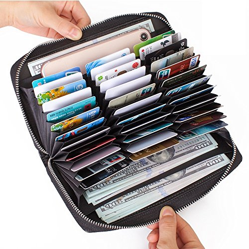 Buvelife Credit Card Wallet Leather RFID Wallet with Zipper for Women or Men, Huge Storage Capacity Credit Card Holder (Black)