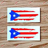 Puerto Rico Map Flag Decal Sticker Vinyl PR Puerto Rican - 2 Pack Glossy, 4 Inches - for Car Boat Laptop