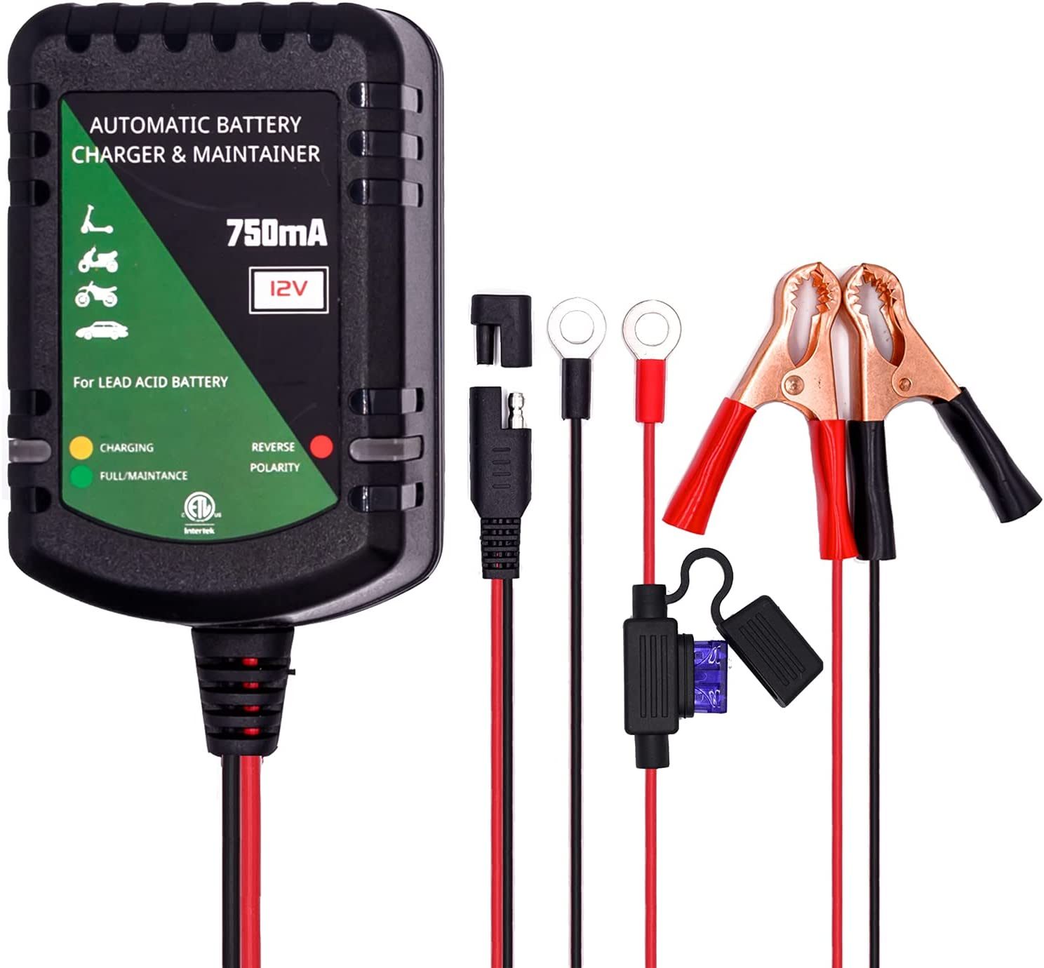 12V Battery Charger Automatic Maintainer 0.75A trickle 3...