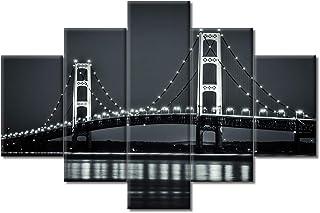 Large Size Mackinaw Bridge Canvas Wall Art 5 Panels Black and White Michigan City Night View Picture Print on Canvas, Fram...