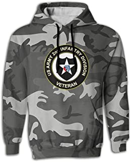 SNOWSOFT US Army Veteran 2nd Infantry Division Unisex 3D Printed Pullover Hoodie Hooded Sweatshirt