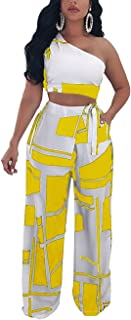 Rela Bota Women's One Shoulder 2 Piece Outfit Crop Top and Pants Jumpsuits Set