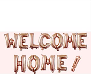 AnnoDeel 16inch WELCOME HOME Letter Balloons, Rose Gold Alphabet Foil Mylar Balloons for Welcome Party Decoaration supply