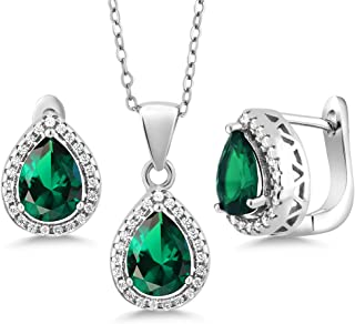 Sterling Silver Pear Shape Green Nano Emerald Pendant Earrings Set 6.50 cttw with 18 Inch Silver Chain