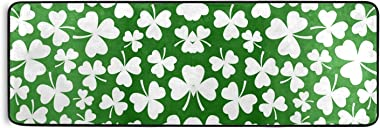 Oyihfvs St. Patrick White Shamrock Clover Four Leaves on Green Long Hallway Runner Rug Doormat, Front Door Welcome Entryway M
