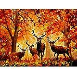 Puzzle toy store Rompecabezas para Adultos 300/500/1000 Bine Art Cartboard Elk en los Rompecabezas del Bosque para la Mejor decoración del hogar (Color : C, Size : 300PC)