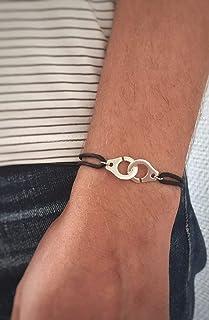 Bracelet menottes sur cordon coton - Bracelet mixte