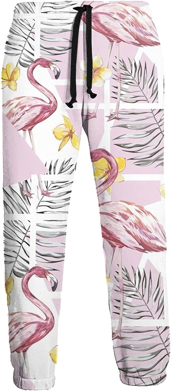 Mens Jogger Sweatpants Tropical Flamingo Flowers Lightweight Workout Athletic Joggers Pants Trousers