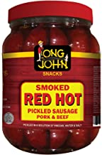 Long John Snacks Pickled Sausage -( Red Hot) - (4) 36 Oz Jars, Gourmet Smoked Sausage Snack (Red Hot, 36 Ounce)