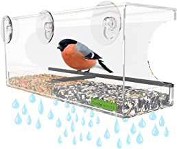 Yardly Noticed Window Bird Feeder with Removable Tray, Drain Holes, Extended Perch, 4 Suction Cups - Crystal Clear See Through Design 2017 - See Wild Birds Up Close, Great for Kids & Cats