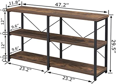 Fellytn Console Table For Entryway Industrial Sofa Table With Metal Mesh Shelf 3 Tier Hallway Table 40 Inch Rustic Brown Amazon Ca Home Kitchen