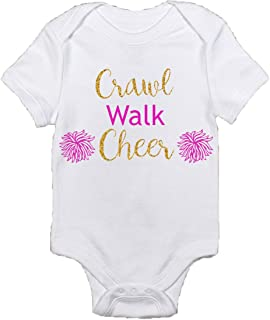 Adorable Future Cheerleader Romper Crawl Walk Cheer Best Baby Gift Idea Coming Home Outfit