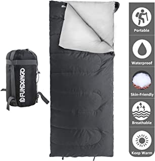 FUNDANGO Lightweight Sleeping Bag for Adults Camping Sleeping Bag Envelope Rectangular Compact Sleep Bag Waterproof Portable for Hiking, Backpacking, Traveling with Compression Bag