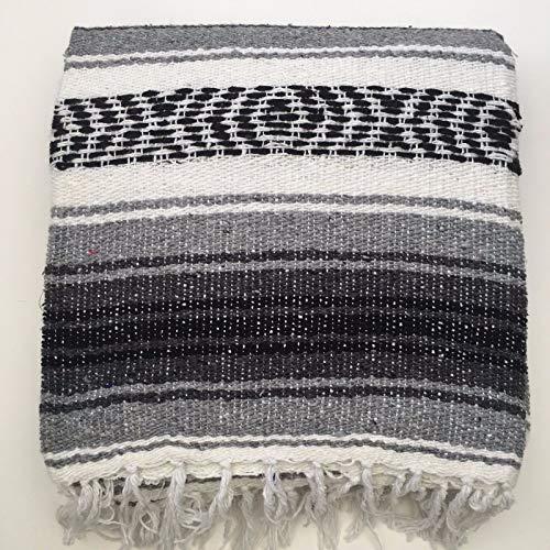 Mexikanische Decke/Überwurf/Teppich, 6-farbig, für Picknick, Camping, Festival, grau