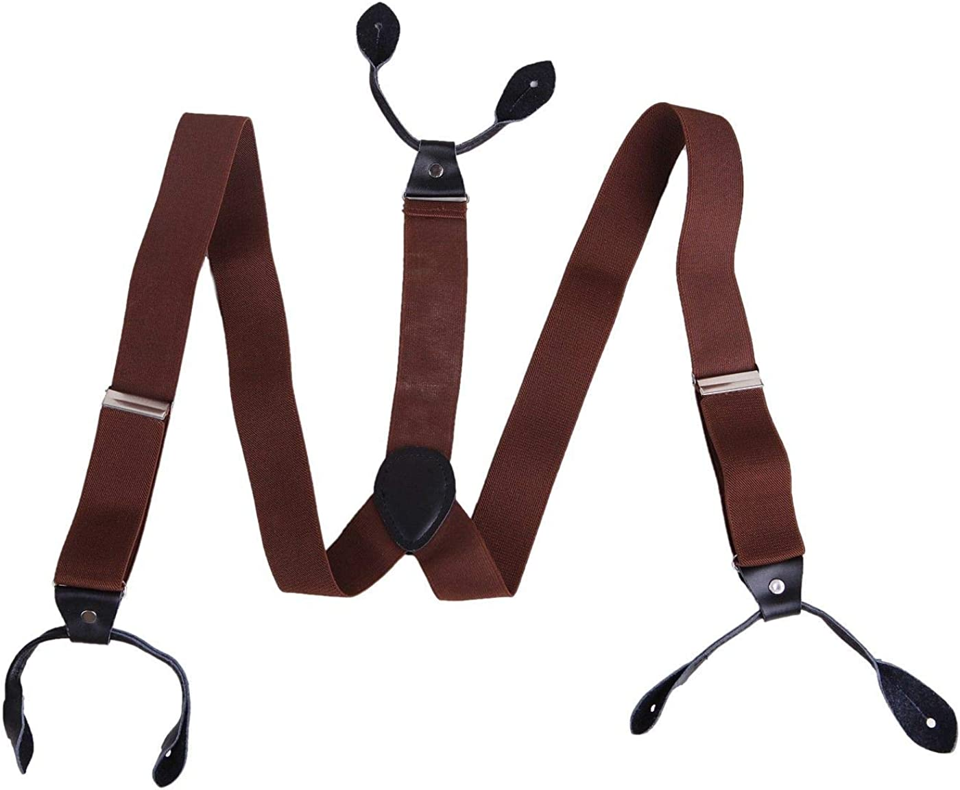 1Pc Brown Mens Button Hole Suspenders Classic Solid Tuxedo Formal Y Adjustable Braces