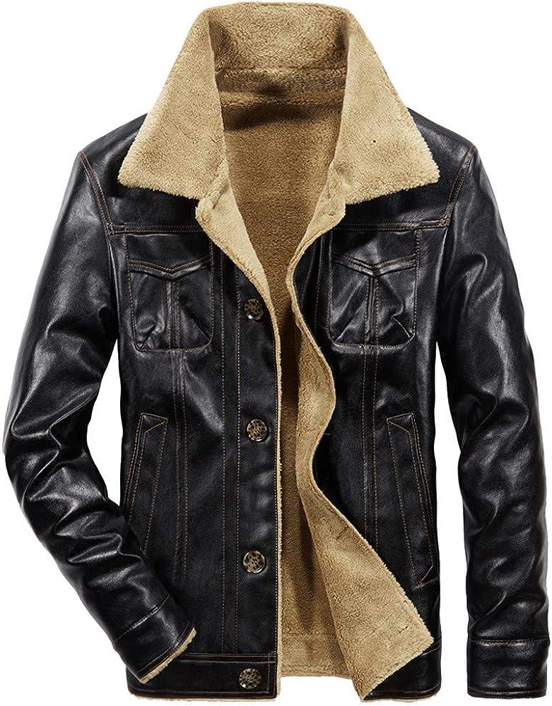 FIRERO Men's Autumn Winter Plush Jacket Casual Pocket Button Thermal Leather Coat