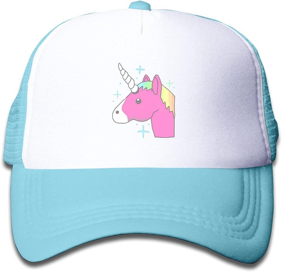 Boys Girls Cartoon Cap Kids Trucker Cap Sun Hat Adjustable Summer Mesh Cap for Outdoor Sun Protection - Unicorns